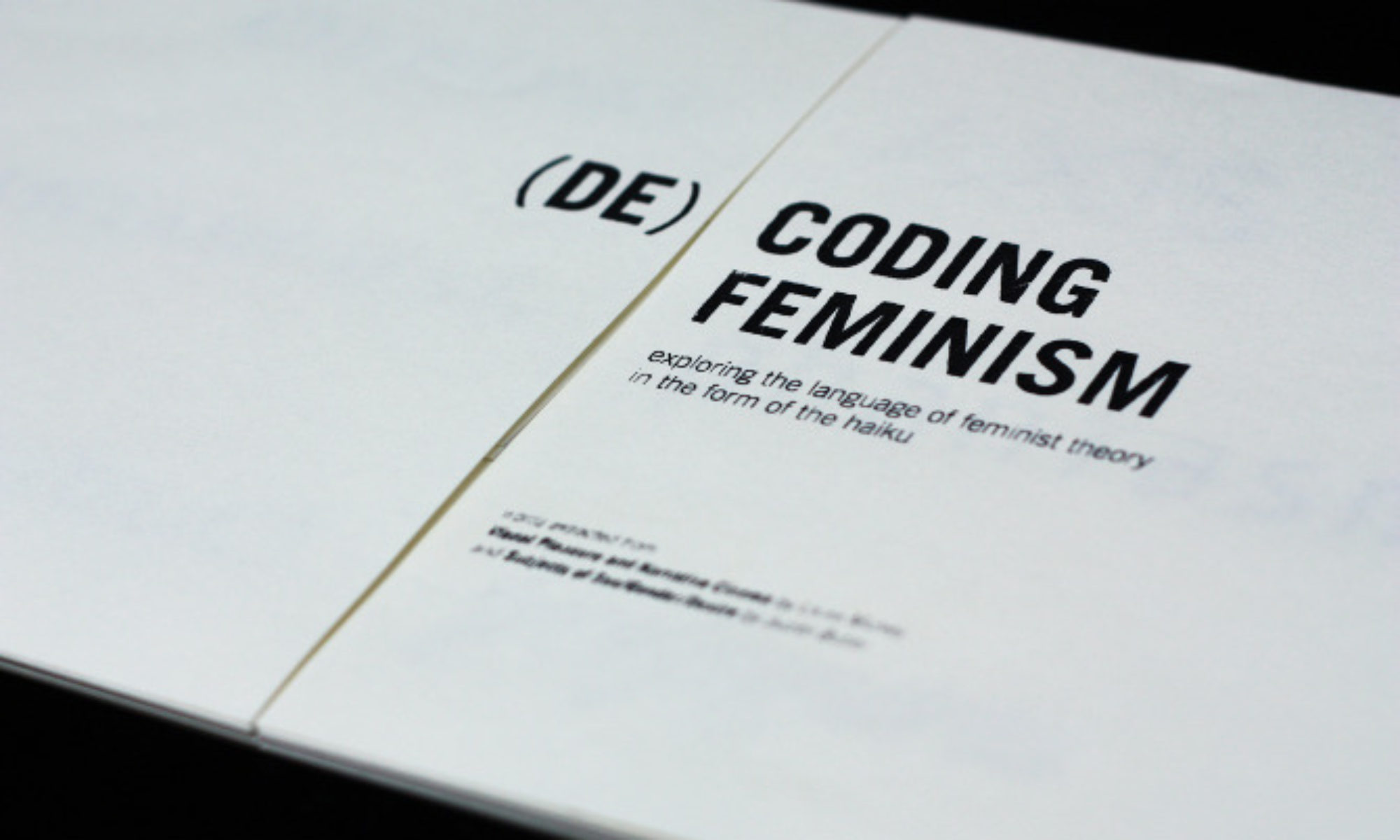The first page of an artist book called De-coding Feminism, created by Zhenqi Ong.